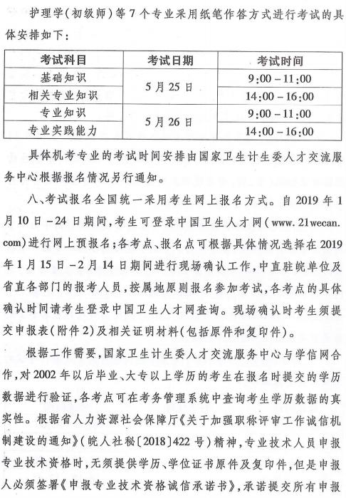 安徽省2019年卫生专业技术资格考试有关通知